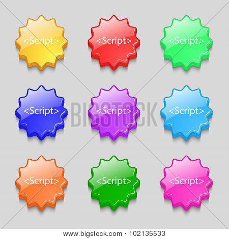 Script Sign Icon. Javascript Code Symbol. Symbols On Nine Wavy Colourful Buttons. Vector