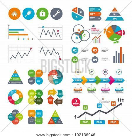 Business data pie charts graphs. Home key icon. Wrench service tool symbol. Locker sign. Main page web navigation. Market report presentation. Vector poster