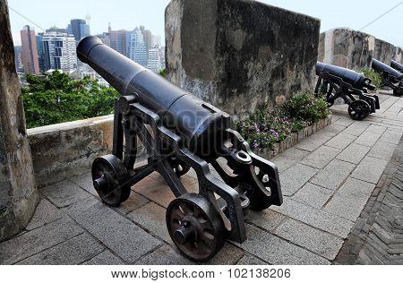 Old cannon in Portuguese Guia Hill / Guia Fortress in Macau China.