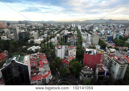 Aerial landscape view of Mexico City Mexico.