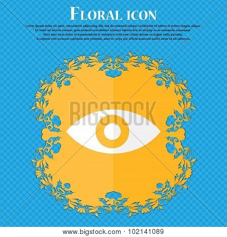Eye, Publish Content, Sixth Sense, Intuition . Floral Flat Design On A Blue Abstract Background With