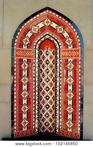 Islamic design wall in Muscat Oman Sultan Qaboos Grand Mosque. poster