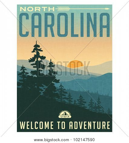Retro style travel poster or sticker. United States, North Carolina, Great Smoky Mountains