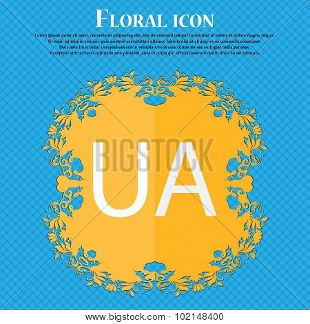 Ukraine Sign Icon. Symbol. Ua Navigation. Floral Flat Design On A Blue Abstract Background With Plac