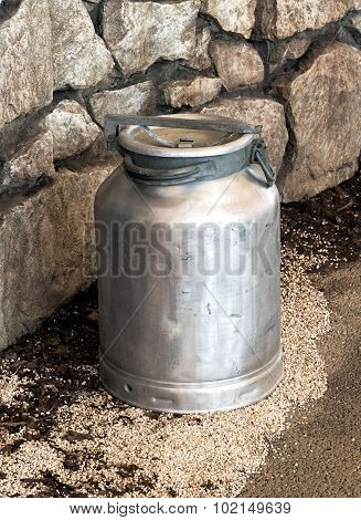 Old Vintage Metal Milk Churn Or Can