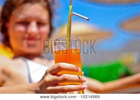Young Woman With Cocktail