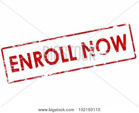 Rubber stamp with text enroll now inside vector illustration poster