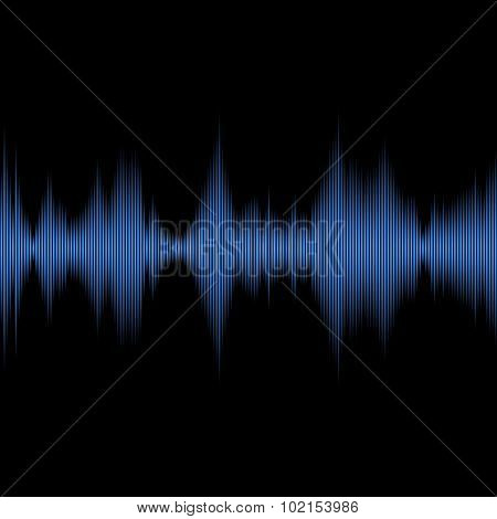 Blue Sound Waves Oscillating Equalizer on Black Background. Vector