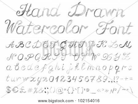 Hand Drawn Watercolor Alphabet On White Background
