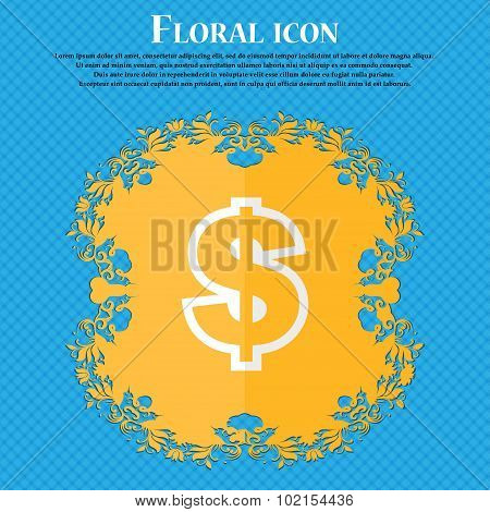 Dollar. Floral Flat Design On A Blue Abstract Background With Place For Your Text. Vector