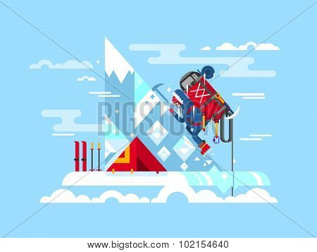 Climber conquers the summit. Mountain and adventure, climbing and challenge, brave and courage, extreme and risk, vector illustration poster