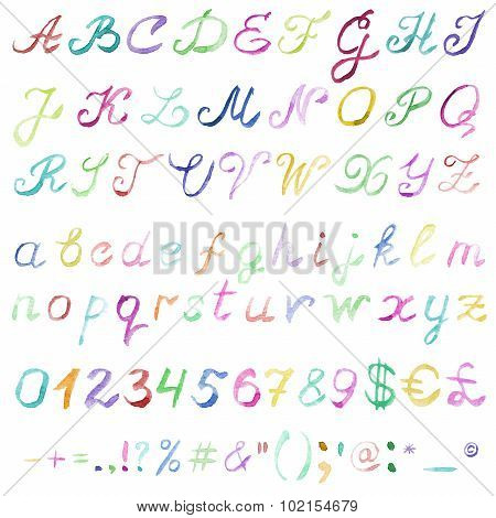Hand drawn watercolor alphabet.