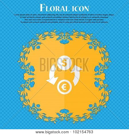 Currency Exchange. Floral Flat Design On A Blue Abstract Background With Place For Your Text. Vector