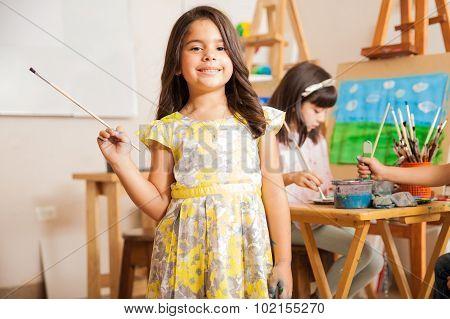 Little Female Artist Enjoying Art Class