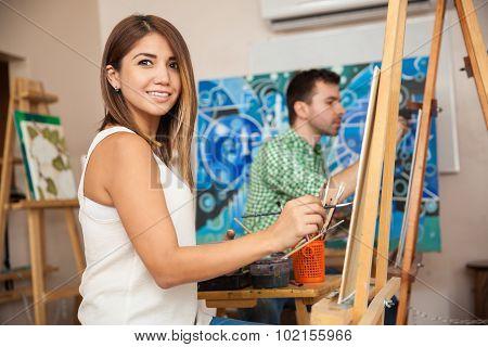 Cute Woman Enjoying Art Class