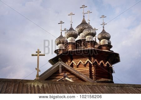 Domes Of Orthodox Church In North Russian Style