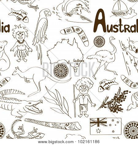 Sketch Australia Seamless Pattern