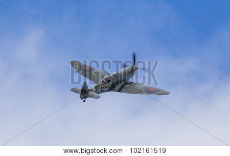 FORT GEORGE, SCOTLAND - AUGUST 8: Spitfire flying at Fort George, Scotland, 8 August 2015.