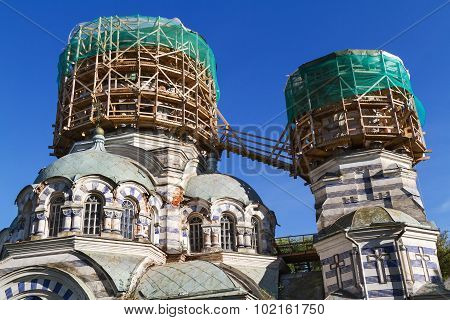 Two Domes Of The Church In Scaffolding Round Shape