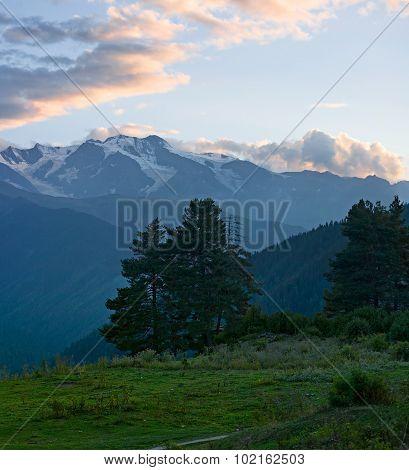 Beautiful summer mountain landscape at sunset. Georgia Svaneti.