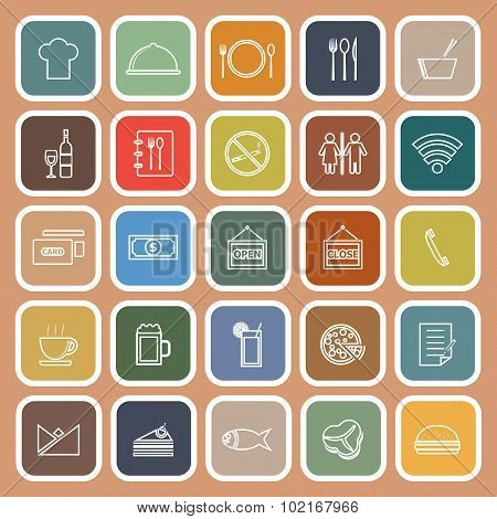 Restaurant Line Flat Icons On Orange Background