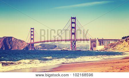 Retro Style Photo Of Golden Gate Bridge, San Francisco.