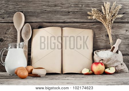 Ingredients For Pastry With Apples (pie, Cake, Strudel) On Wooden Background Closeup