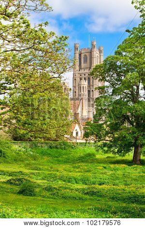 Ely cathedral in sunny spring day, east Anglia