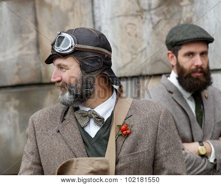 Two Men Wearing Old Fashioned Tweed Clothes