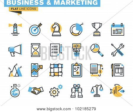 Flat line icon pack for business and marketing