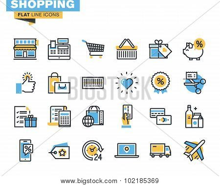 Flat line icon pack for shopping