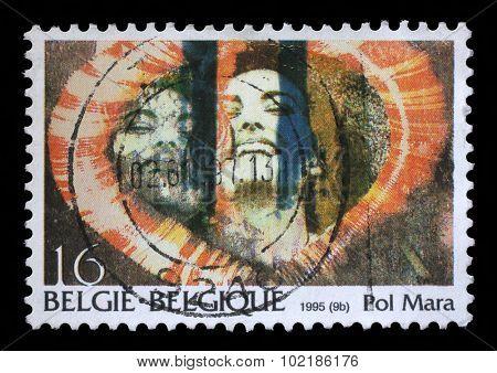 BELGIUM - CIRCA 1995: A stamp printed by Belgium shows the image of the Belgian artist Pol Mara, circa 1995.