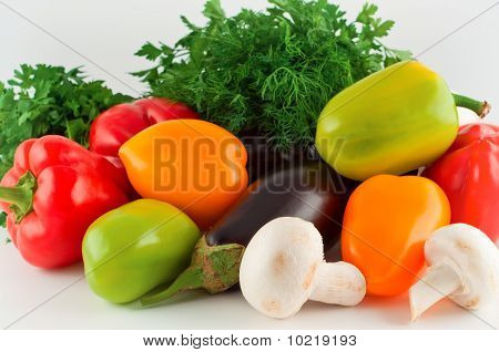 Vegetables, Pepper, Eggplant, Mushrooms, Parsley, Fennel.