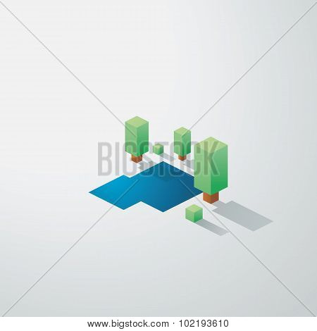 Minimalistic nature landscape background. Low poly isometric design. Trees and lake environment.