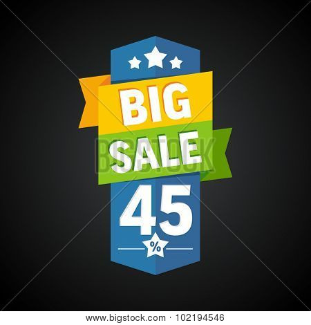 Big sale 45 percent badge. Vector illustration.