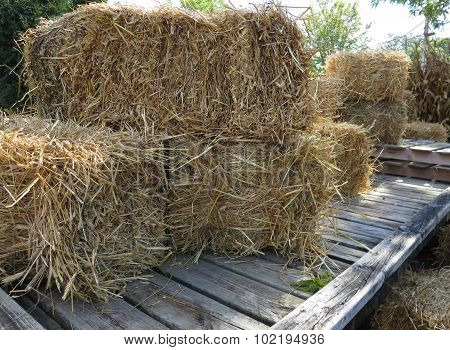 Close-up Hay and Straw Bales on a Wagon
