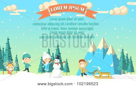 Winter background with kids