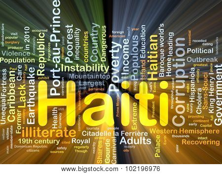 Background concept wordcloud illustration of Haiti glowing light