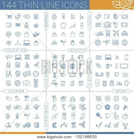 144 thin line icon set
