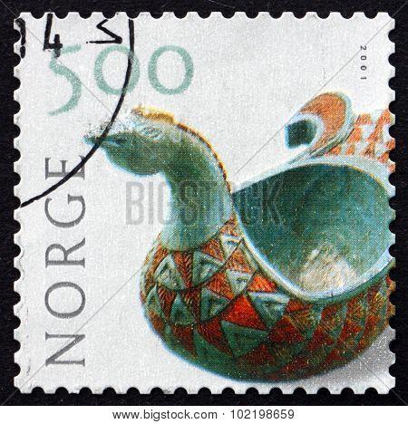 Postage Stamp Norway 2001 Carved Drinking Vessel