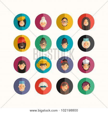 Flat Design Professional People Avatar Icon Set.  Women Set.  Cook, Teacher, Superwoman, Doctor, Dan