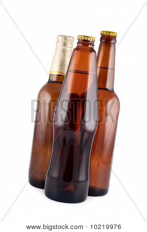 Beer In Glass Bottles Isolated White Background Clipping Path.