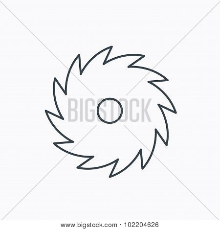 Circular saw icon. Cutting disk sign. Woodworking sawblade symbol. Linear outline icon on white background. Vector poster