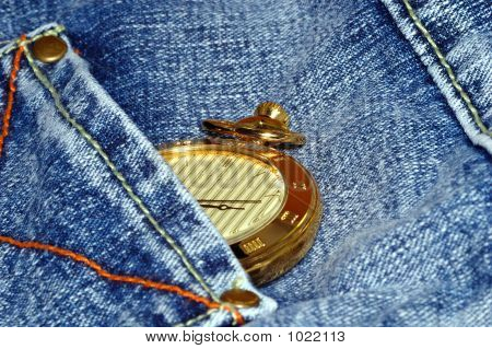 Gold Pocket Watch And Jean