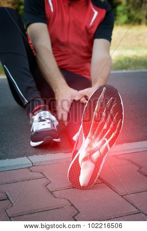 Man runner outside with digital composite of foot bones