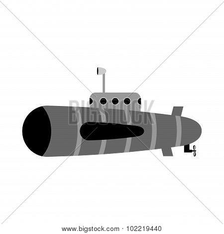 Retro Submarine. Ship To Swim Underwater With Periscope.