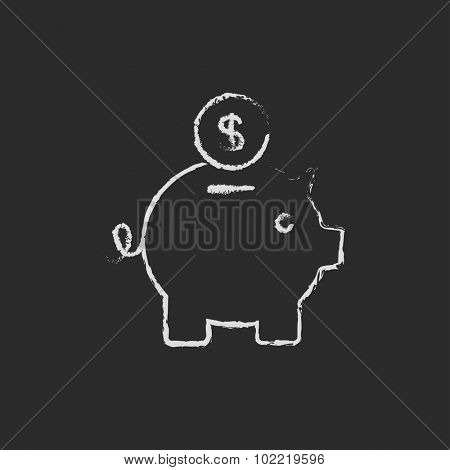 Piggy bank and dollar coin hand drawn in chalk on a blackboard vector white icon isolated on a black background.