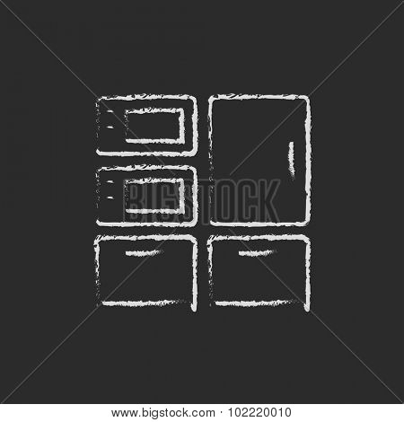 Household appliances hand drawn in chalk on a blackboard vector white icon isolated on a black background.