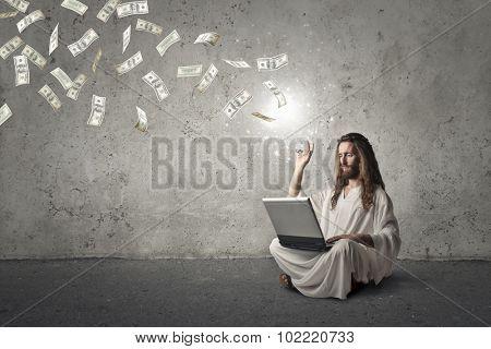 Jesus throwing money away