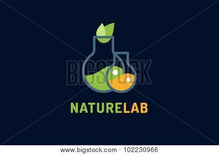 Laboratory ecology vector logo. Lab Eco icon logo isolated. Chemicals, nature logo, natural logo, science logo icon,technology logo, Eco green icon logo. laboratory glassware and leaves. Lab glassware